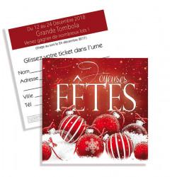 Tickets de tombola 10x10 Joyeuses Fêtes boules Rouge