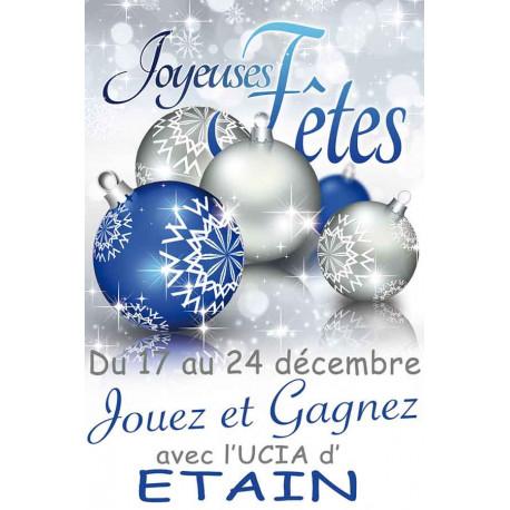 Affiches A2 (42x59,4 cm) Joyeuses Fêtes boules bleu/argent