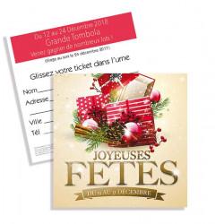 Tickets de tombola 10x10 Joyeuses Fêtes paquets rouge