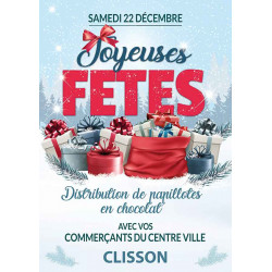 Affiches A2 (42x59,4 cm) Joyeuses Fêtes Cadeaux