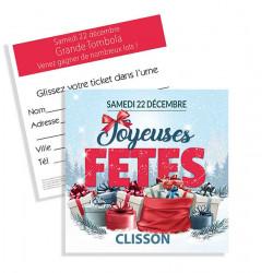 Tickets de tombola 10x10 Joyeuses Fêtes Cadeaux