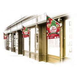 Drapeaux de façade spécifiques Joyeux Noël sapins