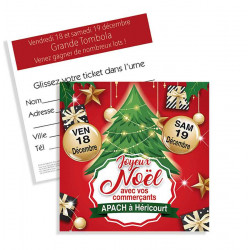 Tickets de tombola 10x10 Joyeux Noël sapins
