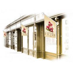 Drapeaux de façade Joyeuses Fêtes paquets rouge